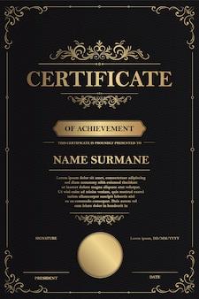 Modelo de certificado de agradecimento com borda dourada vintage