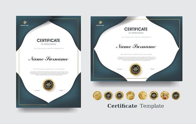 Modelo de certificado de agradecimento e design de emblemas premium de luxo.