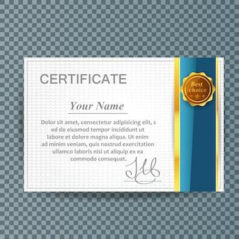 Modelo de certificado de agradecimento ouro e azul