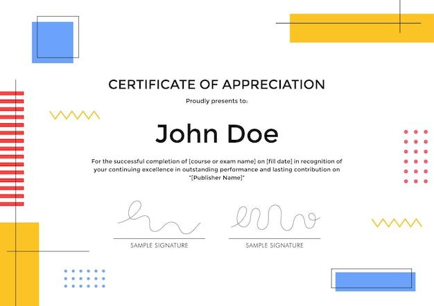 Modelo de certificado de apreciação com design de estilo memphis geométrico abstrato
