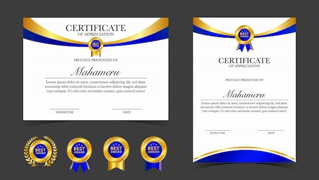 Modelo de certificado de apreciação, cor ouro e azul
