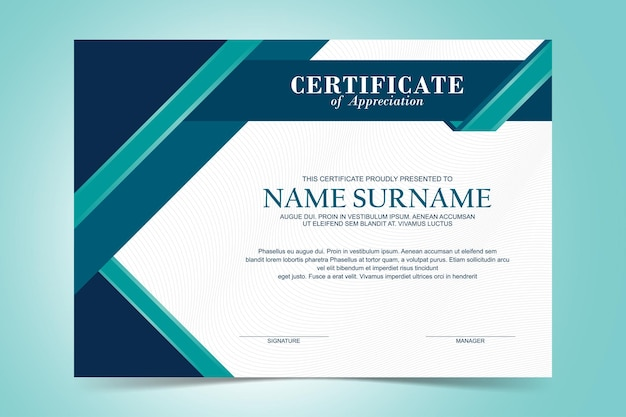 Modelo de certificado de apreciação moderno, cor verde e turquesa