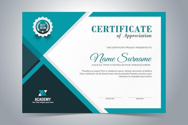 Modelo de certificado de apreciação moderno, design em cor azul turquesa Vetor Premium