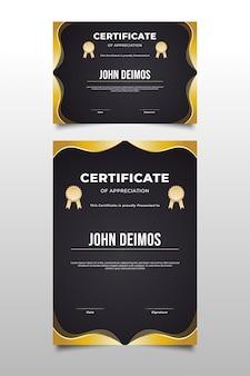 Modelo de certificado de apreciação preto e dourado