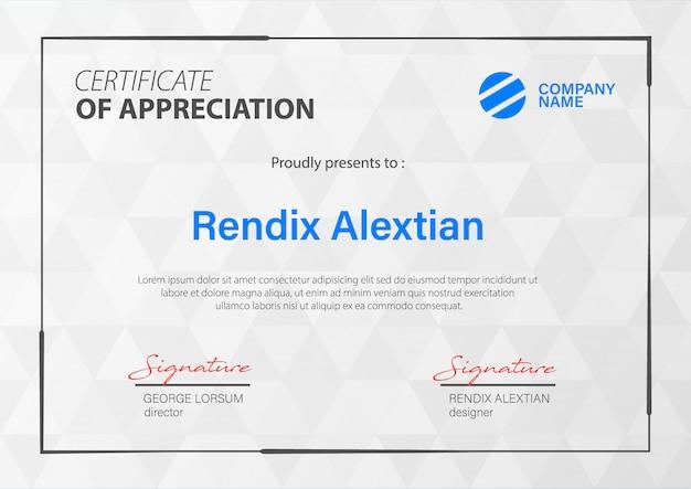Modelo de certificado de apreciação