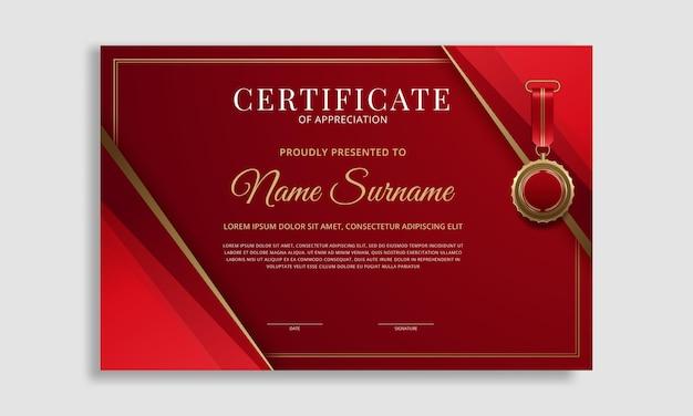 Modelo de certificado de borda moderno e luxuoso
