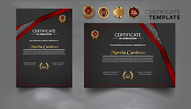 Modelo de certificado de conjunto profissional vermelho moderno