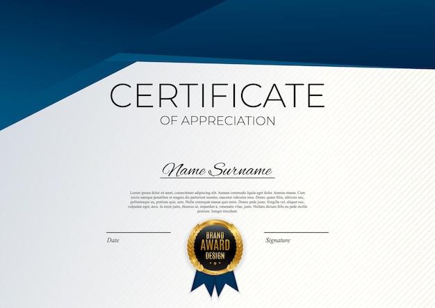Modelo de certificado de conquista azul e dourado