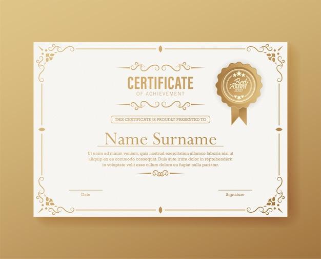 Modelo de certificado de conquista com borda de ouro vintage