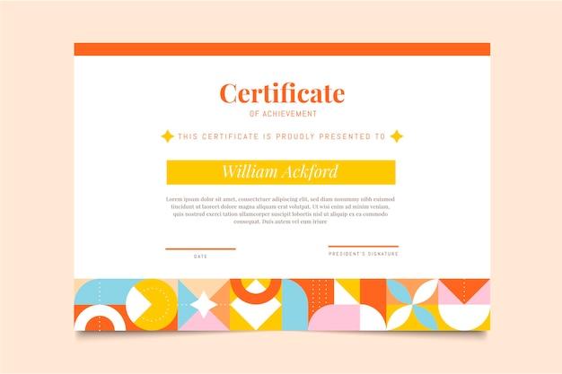 Modelo de certificado de conquista em mosaico plano