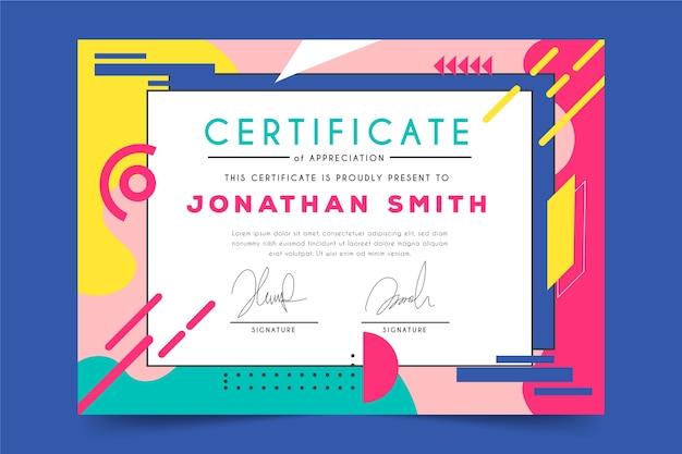 Modelo de certificado de desenho geométrico abstrato