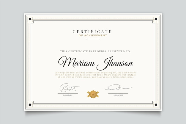 Modelo de certificado de design elegante
