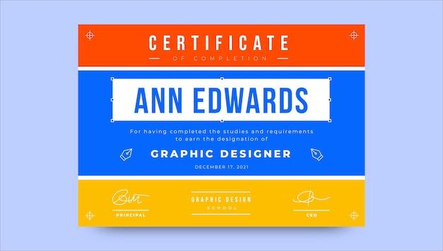 Modelo de certificado de design gráfico
