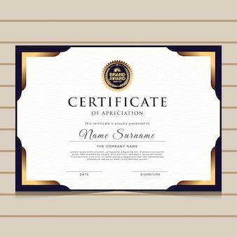Modelo de certificado de diploma azul e dourado elegante