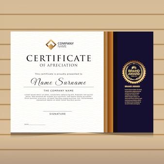 Modelo de certificado de diploma azul e ouro elegante.