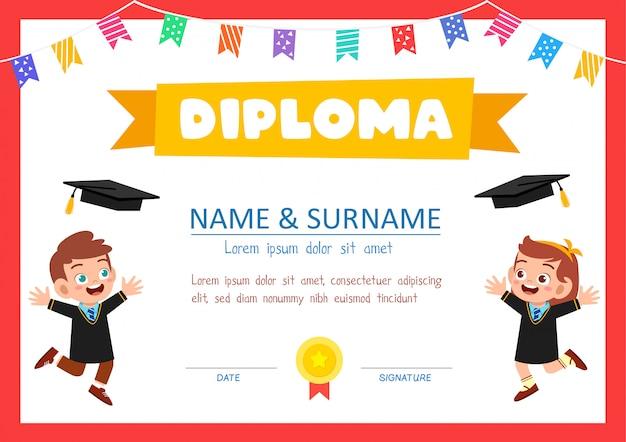 Modelo de certificado de diploma bonito para aluno da escola