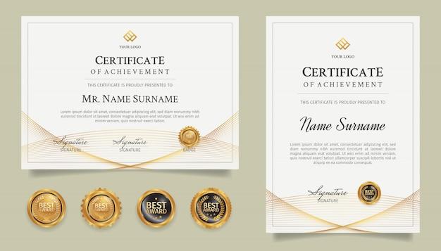 Modelo de certificado de diploma de borda com arte de linha dourada e emblemas