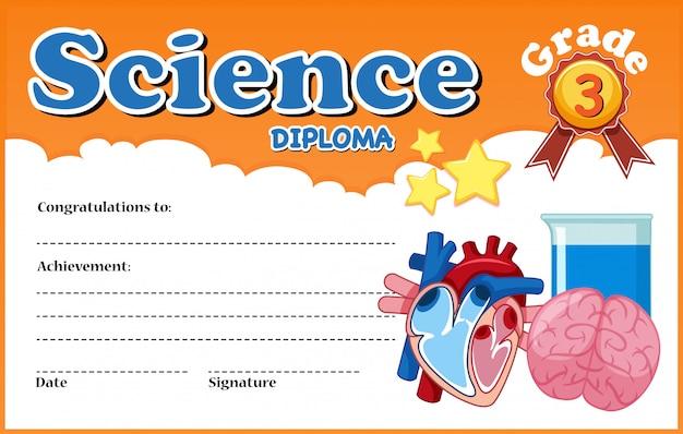 Modelo de certificado de diploma de ciência