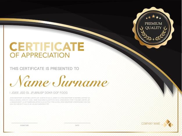 Modelo de certificado de diploma de cor preta e dourada com imagem vetorial de estilo moderno e luxuoso, adequado para apreciação. ilustração vetorial.