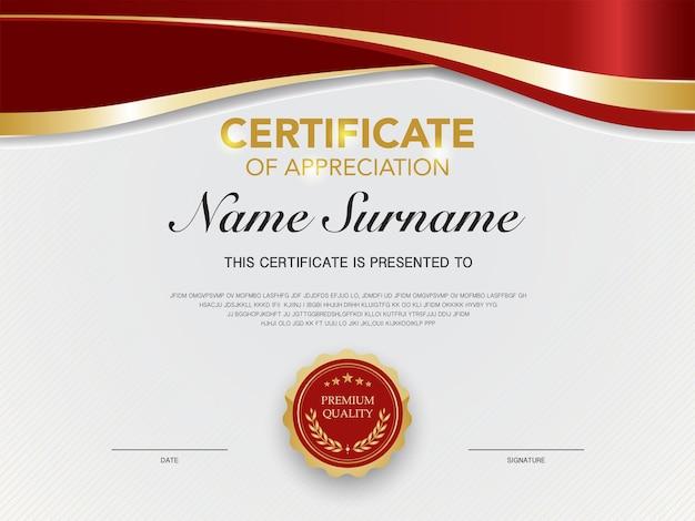 Modelo de certificado de diploma de cor vermelha e dourada com imagem vetorial de estilo moderno e de luxo adequada