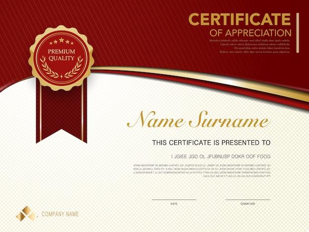 Modelo de certificado de diploma de cor vermelha e dourada com imagem vetorial de estilo moderno e luxuoso, adequado para apreciação. ilustração vetorial.