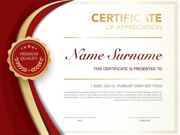 Modelo de certificado de diploma de cor vermelha e dourada com imagem vetorial de estilo moderno e luxuoso