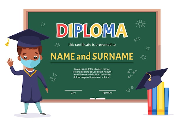 Modelo de certificado de diploma de crianças em idade escolar com menino bonito com quadro verde e elementos escolares de doodle desenhado à mão