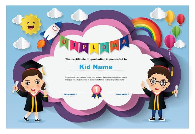 Modelo de certificado de diploma de crianças prées-escolar
