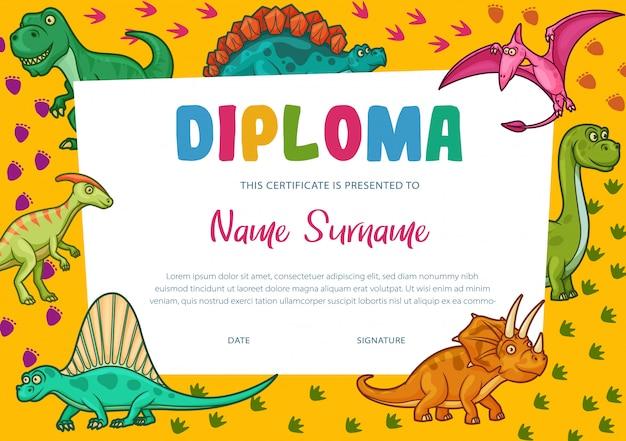Modelo de certificado de diploma de crianças, prêmio de educação