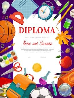 Modelo de certificado de diploma de educação de crianças