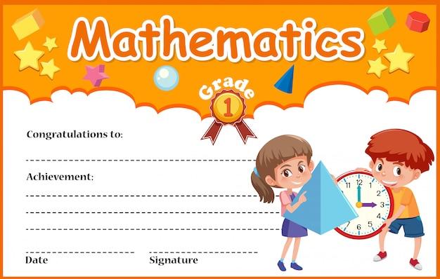Modelo de certificado de diploma de matemática