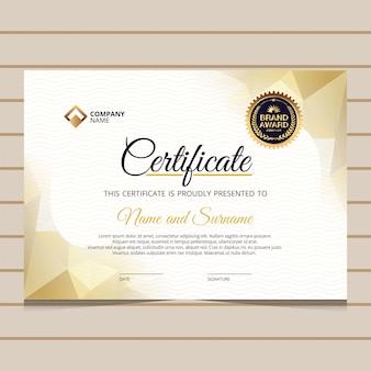 Modelo de certificado de diploma de ouro azul elegante
