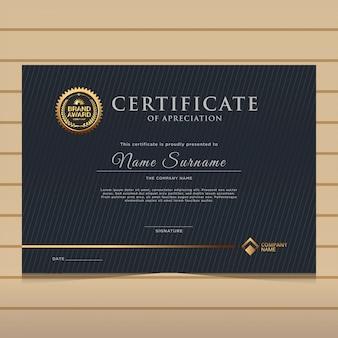Modelo de certificado de diploma de ouro escuro elegante.