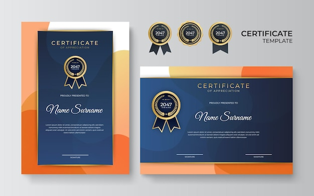 Modelo de certificado de diploma elegante em azul laranja e ouro