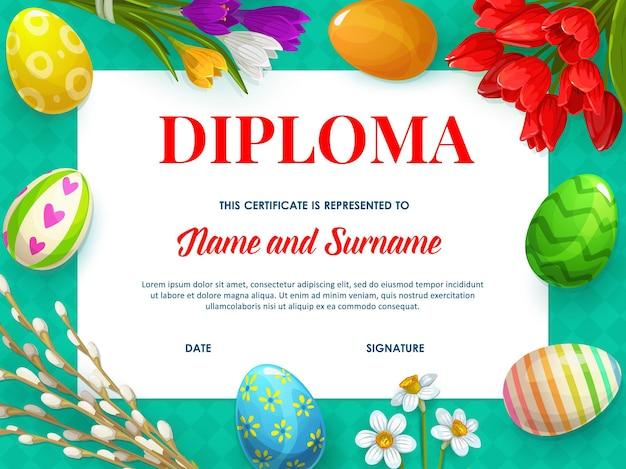 Modelo de certificado de diploma infantil, design educacional