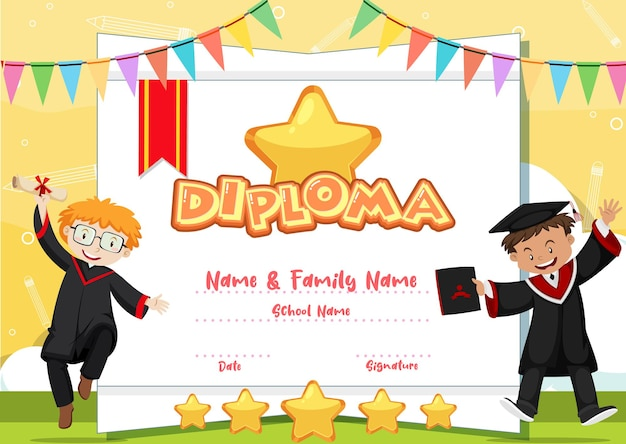 Modelo de certificado de diploma infantil