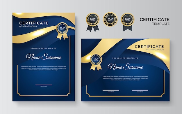 Modelo de certificado de diploma moderno elegante em azul e ouro. limpe o certificado moderno com crachá de ouro. modelo de borda de certificado com padrão de linha de luxo e moderno. modelo de vetor de diploma