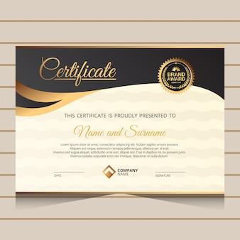 Modelo de certificado de diploma preto e dourado elegante