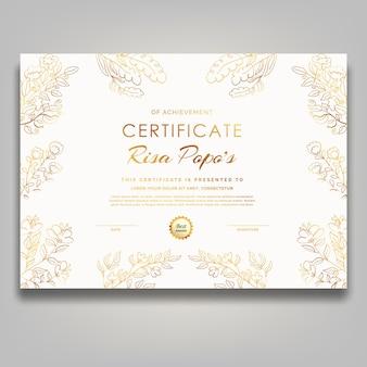 Modelo de certificado de flor branca luxo moderno