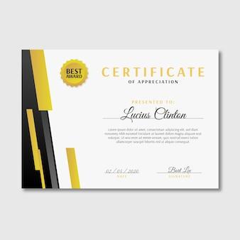 Modelo de certificado de forma geométrica elegante