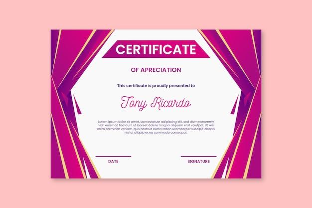 Modelo de certificado de formas abstratas rosa