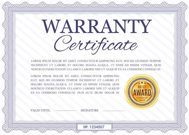 Modelo de certificado de garantia, diploma com borda ornamental ondulada