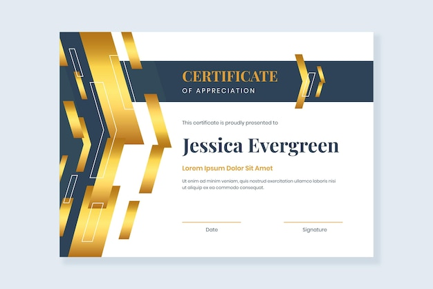 Modelo de certificado de gradiente