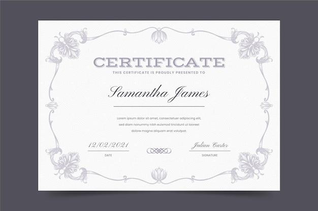 Modelo de certificado de gravura ornamental