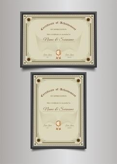 Modelo de certificado de luxo com moldura ornamental em estilo vintage