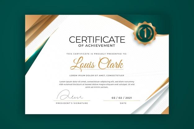 Modelo de certificado de luxo dourado