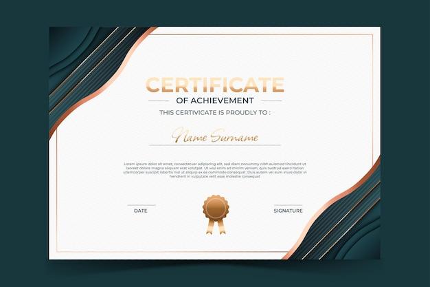 Modelo de certificado de luxo elegante com estilo dourado
