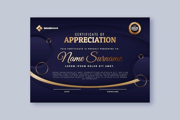 Modelo de certificado de luxo gradiente dourado Vetor grátis