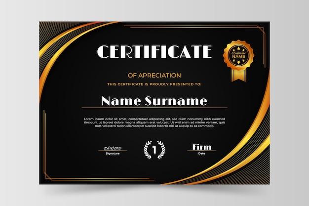 Modelo de certificado de luxo gradiente dourado