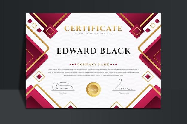 Modelo de certificado de luxo gradiente